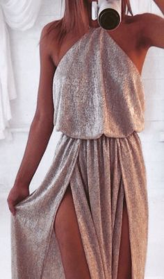 Grey Plain Spaghetti Strap Irregular High Furcal Split Backless Sleeveless Sexy Maxi Dress