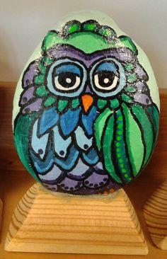painted rocks, owl