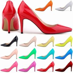 Women Patent Leather fashion MID high heels POINTED corset WORK PUMPS COURT SHOES US 4-11