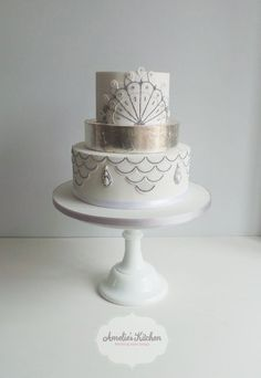 1920s white and silver leaf  wedding cake