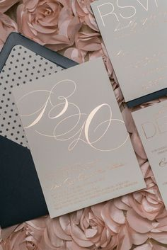 JESSICA Suite Cutie Package, rose gold foil, navy polka dots, elegant wedding invitation Rockwell Catering and Events