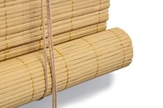 Closeup van ons bamboe rolgordijn, kleur natuur