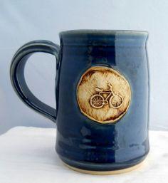 coffee mugs | Coffee Mug Bike Pottery Wheel thrown Stoneware Mug by Jewel Pottery ...