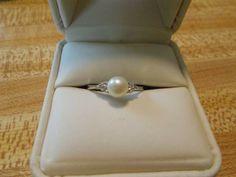 10k White Gold Pearl Diamond Ring - $75