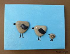 MTO 3 Little Birds Family Nursery Animal Stone Pebble Art Painting Picture Made with Beach Finds by DengraDesigns on Etsy