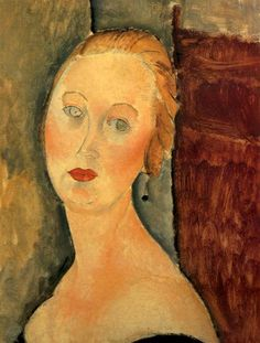 Germaine Survage with Earrings, 1918 by Amedeo Modigliani. Expressionism. portrait. The Museum of Fine Arts of Nancy, France
