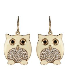 Another great find on #zulily! Ivory Chubby Owl Drop Earrings #zulilyfinds