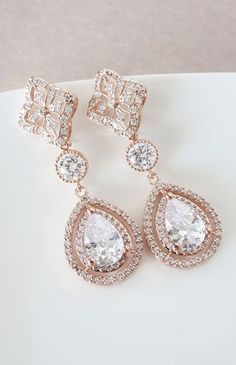 Rose Gold Teardrop Deluxe Cubic Zirconia Teardrop