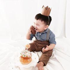 First Birthday Boy Crown, Wood Crown, Cake Smash photo prop, Donut Smash, Modern First Birthday