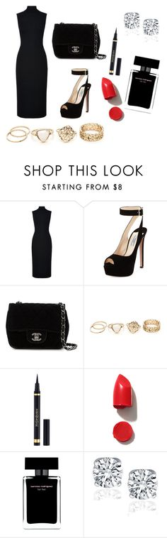 """black look"" by mysticsjy on Polyvore featuring Harrods, Prada, Chanel, Yves Saint Laurent, NARS Cosmetics and Narciso Rodriguez"