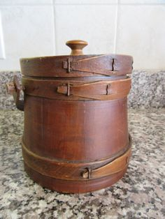 Small vintage wood firkin with lid and swing wood handle by HeathersCollectibles on Etsy