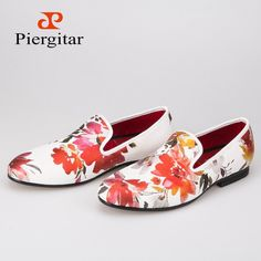 2016 new style Handmade white color print gold flower China style men loafers  wedding and party 6fad2a18144a