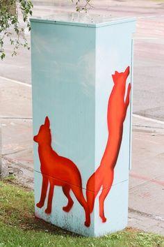 Painted Utility Boxes in Toronto Location: Park Lawn Road and Lakeshore Boulevard West Artist: Monica Wickeler Urban Street Art, Urban Art, Art Toronto, Toronto Location, Outdoor Art, Public Art, Box Art, Graffiti, Whimsical