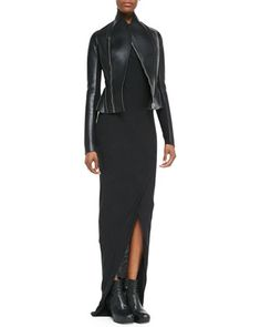 Asymmetric Faux-Leather/Ponte Flared Jacket & Heavy Jersey Draped Faux-Wrap Dress by Rick Owens Lilies at Neiman Marcus.