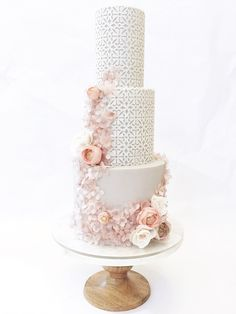 Wedding Cakes | San Diego | Hey there Cupcake #lattice #pointelle #lace #lasercut Glamorous Wedding Cakes, Large Wedding Cakes, Amazing Wedding Cakes, Wedding Cake Designs, Wedding Cake Toppers, Cake San Diego, Geometric Cake, Wedding Cake Alternatives, Modern Cakes
