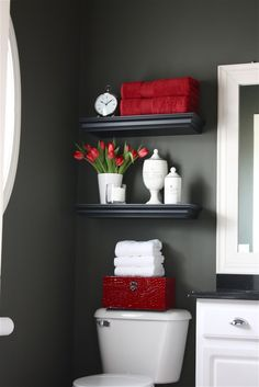 Prepare for Holiday House Guests: Paint Your Guest Bathroom Bold interior design style? Pick a darker, more vibrant hue to liven up your guest bathroom. Prepare for Holiday House Guests: Paint Your Guest Bathroom from Bathroom Bliss by Rotator Rod Deco Wc Original, Diy Casa, Bathroom Inspiration, Bathroom Ideas, Bathroom Shelves, Downstairs Bathroom, Bathroom Storage, White Bathroom, Master Bathroom