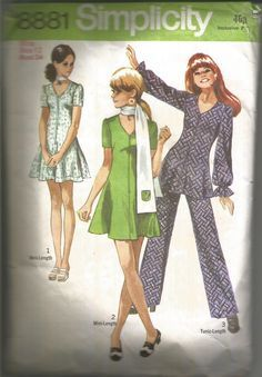 VINTAGE SEWING PATTERN 1970 TUNIC OR MINI DRESS, TROUSERS AND SCARF, BUST 34   eBay