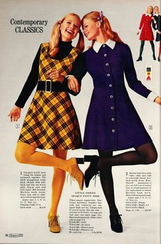 1960s Mod Fashion, 70s Inspired Fashion, Sixties Fashion, Vintage Fashion, 70s Women Fashion, 70s Outfits, Vintage Outfits, Fashion Outfits, Fashion Trends