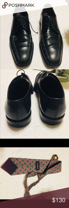 """Bundle deal. Salvatore Ferragamo+Gant Shoes/Tie A good deal for """"DAD"""" a pair of Salvatore Ferragamo Dress Shoes + Gant Tie. Party is around the Conner so get these for your lover. The shoes still in really good condition, wore them when go out. Still last long for 5-6 years. Made of real leather.  Really well care for it. Any question feel free to ask offer always accepted:😀  Size : 10 Brand: Salvatore Ferragamo + Gant Color: Black + purple Made: In Italy Salvatore Ferragamo+Gant Shoes…"""