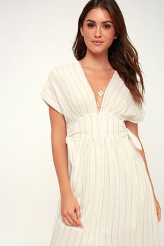 Sierra White and Taupe Striped Midi Dress 5
