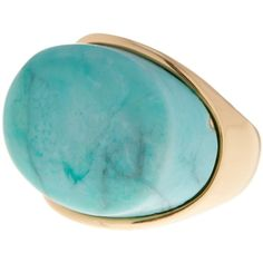 METAL & STONE Oval Turquoise Ring - Size 9 ($20) ❤ liked on Polyvore featuring jewelry, rings, green turquoise, bezel ring, stone ring, green turquoise ring, turquoise rings and stone jewelry
