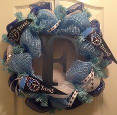 Tennessee Titans Decomesh Wreath, Titans wreath, Tennessee Wreath, NFL Wreath on Etsy, $44.25