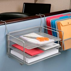 The Seville Classics Desk Wall Organizer constructed of steel mesh in an elegant champagne platinum finish. This 6-tray organizer is ideal for organizing and storing files, important documents, folders, and bills.