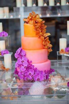 Absolutely stunning tropical ombre cake in coral and pink by eatfrostingcupcakes.com, photo by atappenphoto.com