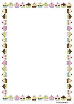 clipart page borders Borders For Paper, Borders And Frames, Clipart, Backgrounds Wallpapers, Birthday Charts, Page Borders, Cupcake Art, Writing Paper, Border Design