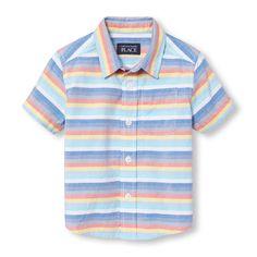 Toddler Boys Short Sleeve Multi-Striped Oxford Button-Down Shirt