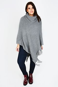 Grey Chunky Knit Cowl Neck Poncho With Tassels
