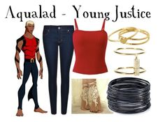 """""""Aqualad - Young Justice"""" by aquatic-angel ❤ liked on Polyvore featuring Marvel Comics, BOSS Orange, ABS by Allen Schwartz, Gorjana and Ileana Makri"""