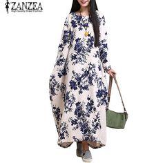 ZANZEA Oversized Cotton Linen Floral Baggy Tunic Long Maxi Shirt Dress Tag  a friend who would 01ca52101d93