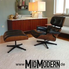 Eames Lounge Chair & Ottoman by Vitra, 1970's, Palisander and black leather