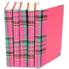 Bespoke Pink Plaid Book Set of 5 ($196) ❤ liked on Polyvore featuring home, home decor, stationery, books, decor, fillers and pink