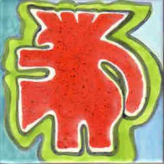 This is a one-of-a-kind ceramic art tile of an abstract ibis that was part of a series of Peruvian-inspired designs.  It was formed into a temple-shaped mural over a bathroom sink.