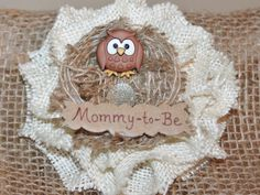 Owl Mommy-to-Be Baby Shower Corsage with Egg in Nest/ Baby Shower Corsage/ Owl Baby Shower/ Owl Mom to Be Corsage /Owl Shower by DoodleBugsDelights on Etsy