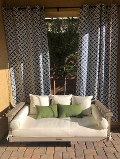 This classic slat-rail Sunday Porch Swing is hand crafted of eucalyptus to be naturally moisture and insect resistant, and finished in a warm whitewash. Hammock Swing, Porch Bed Swings, Patio Privacy Screen, Deep Seat Cushions, Outdoor Living, Outdoor Decor, Ballard Designs, Porch Ideas, Yard Ideas
