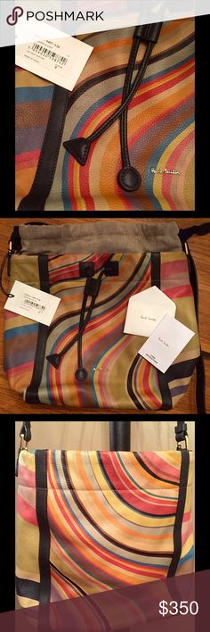 "Magnificent EUC Paul Smith Swirl Bucket Bag ✳️  Paul Smith Swirl bucket handbag - Xlnt condition! - w/dust bag. ✳️  Calf leather w/multi-color signature swirl ✳️  Used only a few times ✳️  11"" L x 12"" W x 6"" D (aprx) ✳️  Handle drop adjusts (5 holes) from aprx 13""-18"".   ( I had the strap cut down from orig 19"" - 24"" length.  Just too long.) ✳️  Drawstring top w/blue grossgrain band ✳️  Inside slit pocket & zip pocket  ✳️  Fabric interior in grey/beige tone ✳️  🚫PRICE FIRM!🚫 ✳️  TY…"