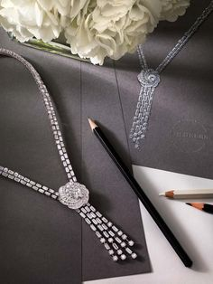 With the new Aria diamond jewellery collection, which includes this high jewellery necklace, De Beers encircles the central diamond with a series of swirling, spiraling ribbons.