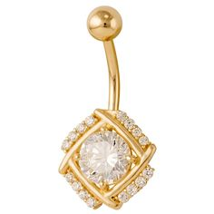 FreshTrends CZ Vintage Windmill Accent CZ 14K Yellow Gold Belly Ring