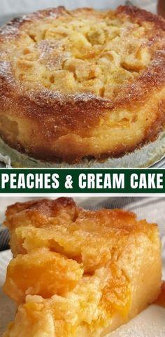 Peaches And Cream Cake Peaches And Cream Cake Recipe, Peach Cake Recipes, Fruit Recipes, Desert Recipes, Sweet Recipes, Baking Recipes, Peach Recipes Easy, Peach Recipes Dinner, Baking Pan