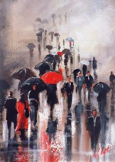 Painting rain Helen Cottle, Australian self-taught artist - Art Kaleidoscope Rain Painting, Street Painting, Painting People, Rain Art, Umbrella Art, Mosaic Pictures, A Level Art, Cross Paintings, Australian Artists