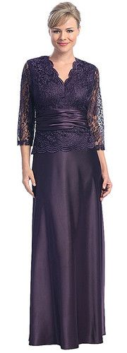 Modest Classic Mother of Bride/Groom Long Gown Lace Top Formal Elegant Dress