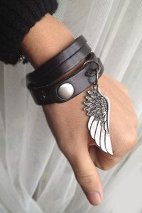 Sliced Black Leather Double Wrap Cuff Bracelet With Angel Wing charm Wish bracelet
