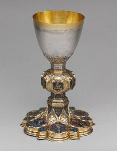 Chalice of Peter of Sassoferrato, 1341–42 with later, perhaps 15th-century. Rivaling the renowned paintings created in the city of Siena in the fourteenth century are its masterpieces of goldsmith work, and The Cloisters chalice is one of the finest testaments to this accomplishment. (www.metmuseum.org).
