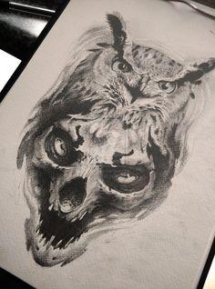 owl and skull by AndreySkull