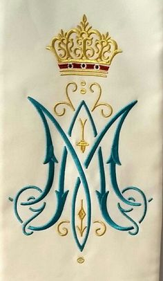 Royal monogram of Our Lady Alphabet Images, Alphabet Art, Catholic Art, Religious Art, Monogram Design, Lettering Design, Crown Symbol, Alphabet Wallpaper, Hand Embroidery Art