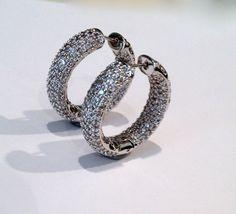 Vintage Pave Hoop Estate Jewelry Earrings by WOWTHATSBEAUTIFUL