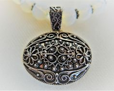 Gemstone Sterling Silver Necklace Gemstone Pendant Vintage Jewelry Ethnic Silver Necklace Boho Pendant Christmas Gifts for Her